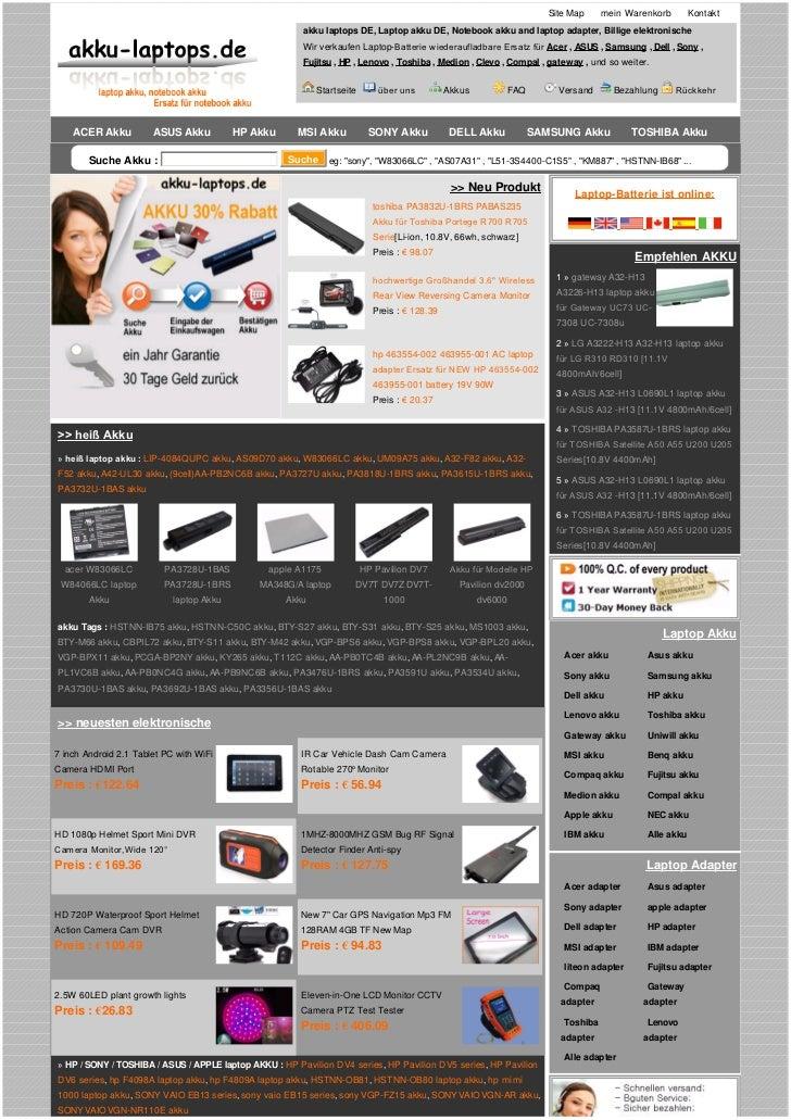 Site Map     mein Warenkorb        Kontakt                                                        akku laptops DE, Laptop ...