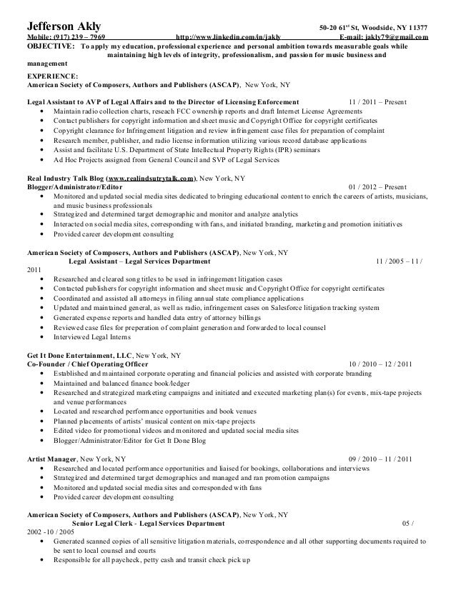 akly jefferson resume - Mailroom Clerk Resume