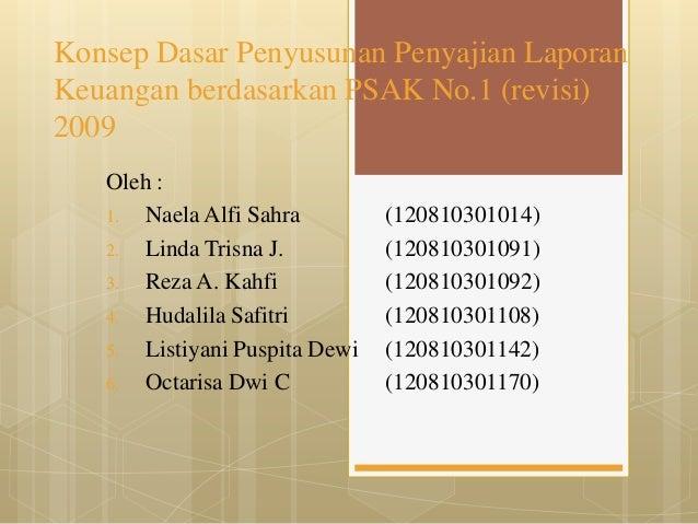 Konsep Dasar Penyusunan Penyajian LaporanKeuangan berdasarkan PSAK No.1 (revisi)2009   Oleh :   1. Naela Alfi Sahra       ...