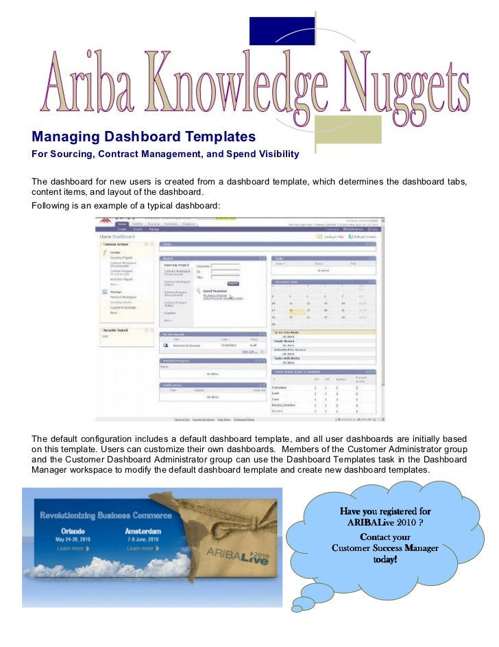 Ariba Knowledge Nuggets Managing Dashboards - Customer dashboard template