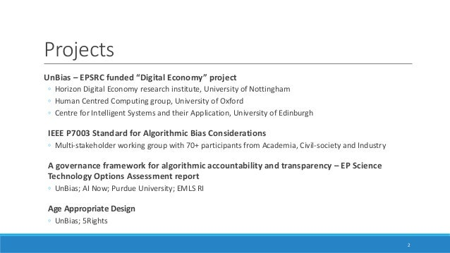 Bias in algorithmic decision-making: Standards, Algorithmic Literacy and Governance Slide 2