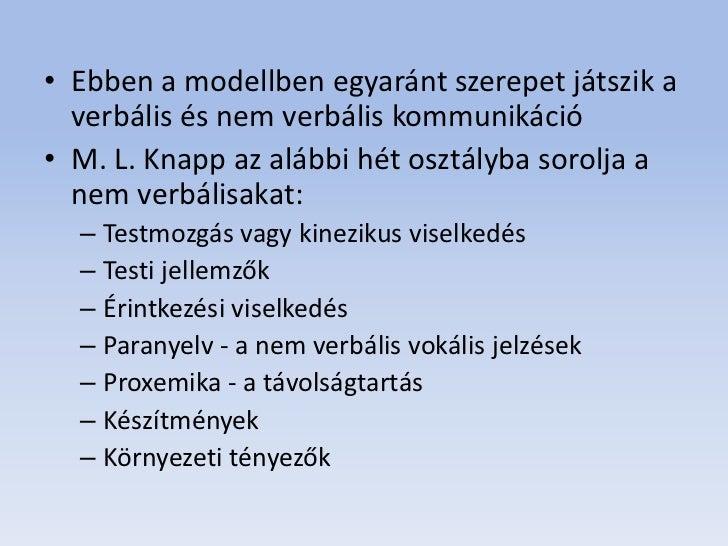 • Ebben a modellben egyaránt szerepet játszik a  verbális és nem verbális kommunikáció• M. L. Knapp az alábbi hét osztályb...