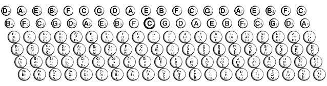 Přehled basových knoflíků - akordeon