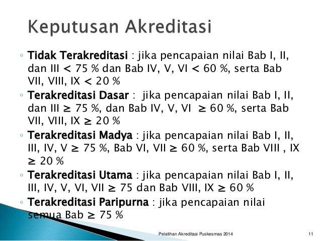 ◦ Tidak Terakreditasi : jika pencapaian nilai Bab I, II, dan III < 75 % dan Bab IV, V, VI < 60 %, serta Bab VII, VIII, IX ...