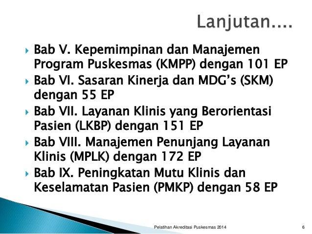  Bab V. Kepemimpinan dan Manajemen Program Puskesmas (KMPP) dengan 101 EP  Bab VI. Sasaran Kinerja dan MDG's (SKM) denga...