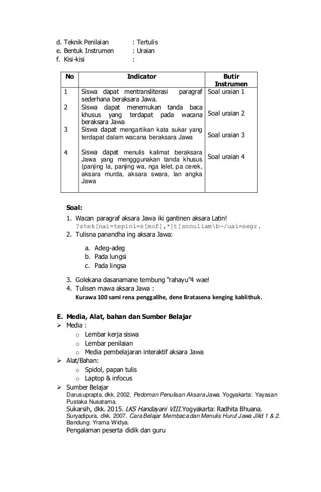 Rpp Aksara Jawa Smp
