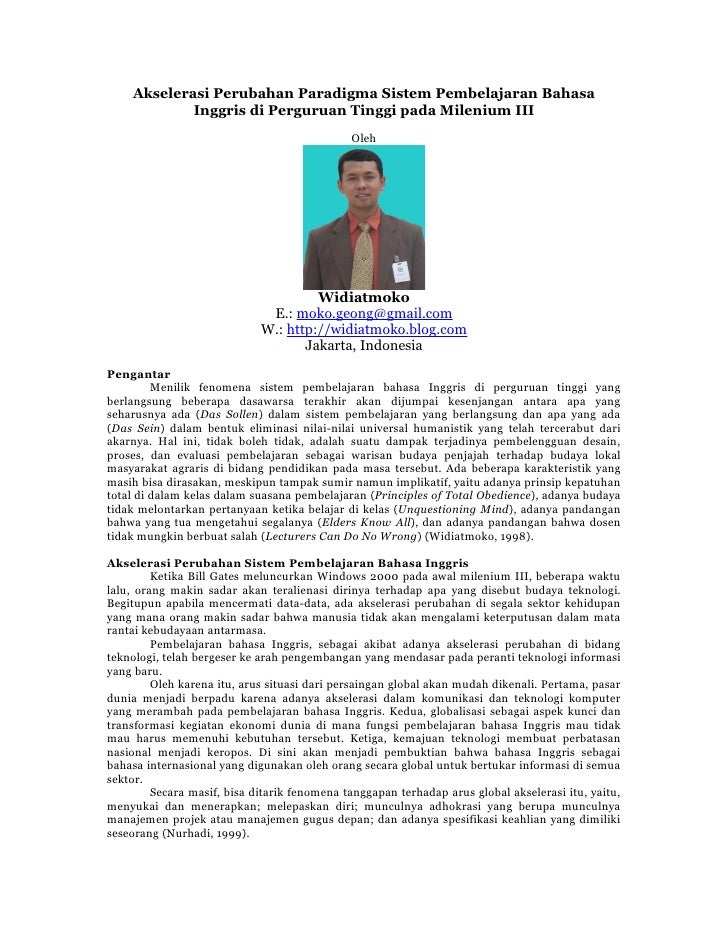 Akselerasi Perubahan Paradigma Sistem Pembelajaran Bahasa             Inggris di Perguruan Tinggi pada Milenium III       ...