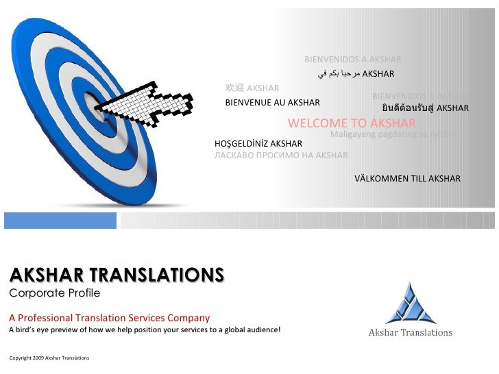 AKSHAR TRANSLATIONS Corporate Profile A Professional Translation Services Company A bird's eye preview of how we help posi...
