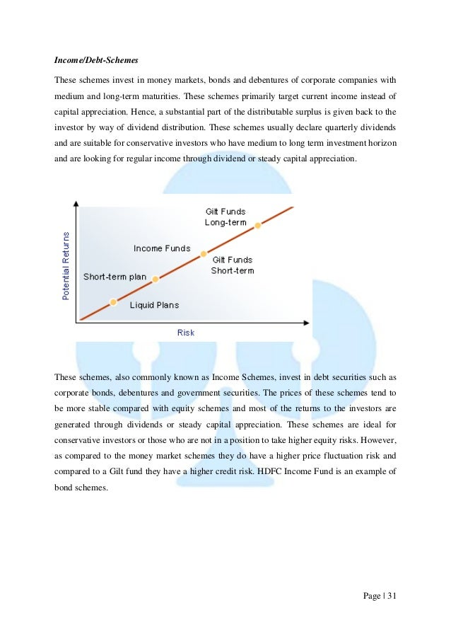 Page   31  Income/Debt-Schemes  These schemes invest in money markets, bonds and debentures of corporate companies with me...