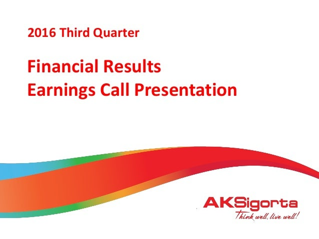 2016 January Financial Results Earnings Call Presentation 2016 Third Quarter
