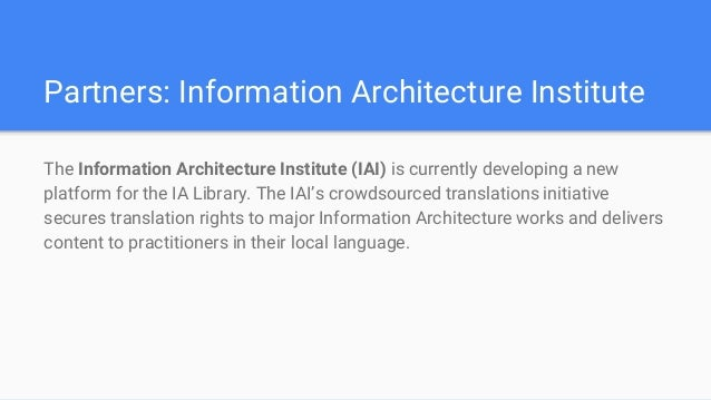 15. Partners: Information Architecture Institute ... Nice Look