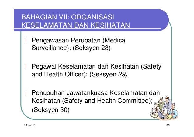 BAHAGIAN VII: ORGANISASIKESELAMATAN DAN KESIHATAN l   Pengawasan Perubatan (Medical     Surveillance); (Seksyen 28) l   Pe...