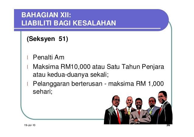 BAHAGIAN XII:LIABILITI BAGI KESALAHAN  (Seksyen 51)  l    Penalti Am  l    Maksima RM10,000 atau Satu Tahun Penjara       ...