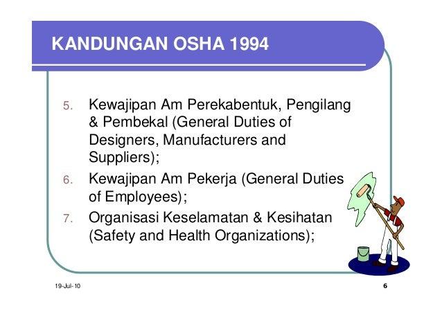 KANDUNGAN OSHA 1994   5.       Kewajipan Am Perekabentuk, Pengilang            & Pembekal (General Duties of            De...