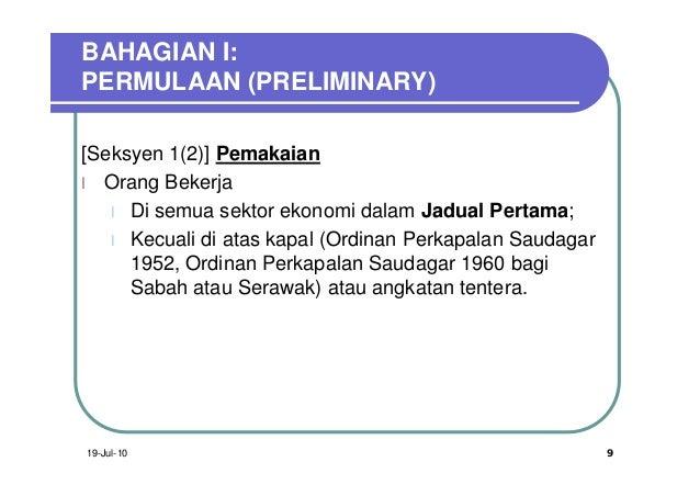 BAHAGIAN I:PERMULAAN (PRELIMINARY)[Seksyen 1(2)] Pemakaianl Orang Bekerja   l Di semua sektor ekonomi dalam Jadual Pertama...