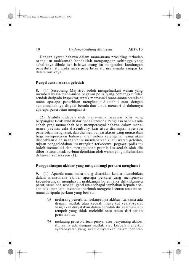 015b.fm Page 10 Monday, March 27, 2006 1:10 PM  10 Undang-Undang Malaysia AKTA 15  Dengan syarat bahawa dalam mana-mana pr...