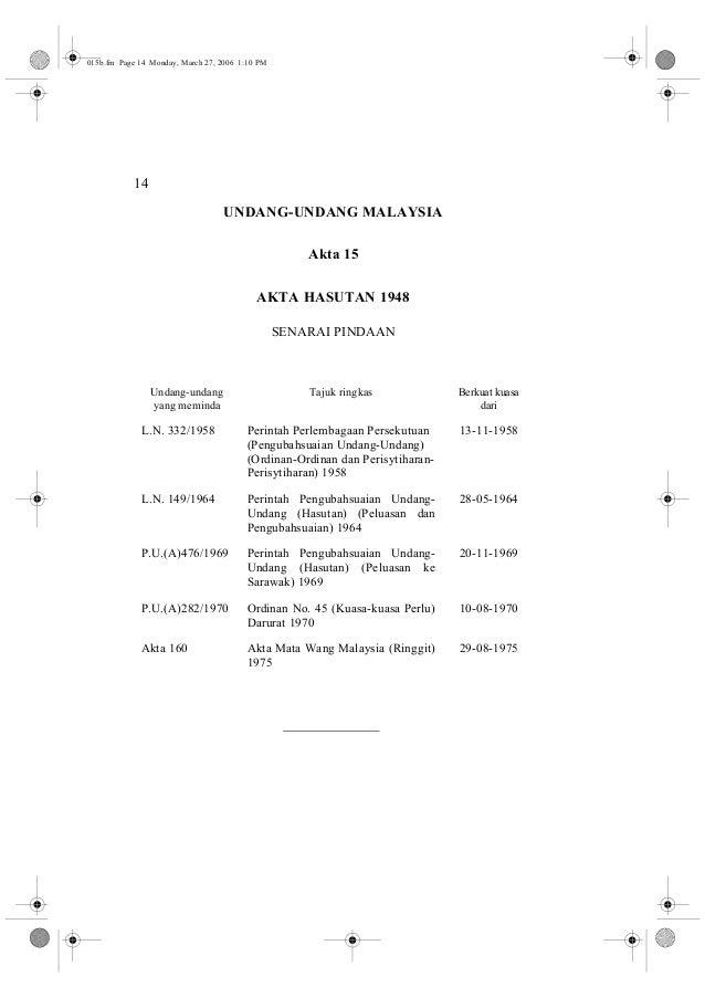 14  UNDANG-UNDANG MALAYSIA  Akta 15  AKTA HASUTAN 1948  SENARAI PINDAAN  Undang-undang  yang meminda  Tajuk ringkas Berkua...