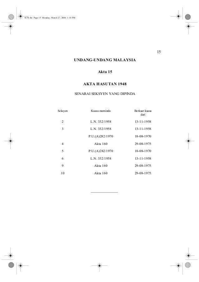 15  015b.fm Page 15 Monday, March 27, 2006 1:10 PM  UNDANG-UNDANG MALAYSIA  Akta 15  AKTA HASUTAN 1948  SENARAI SEKSYEN YA...