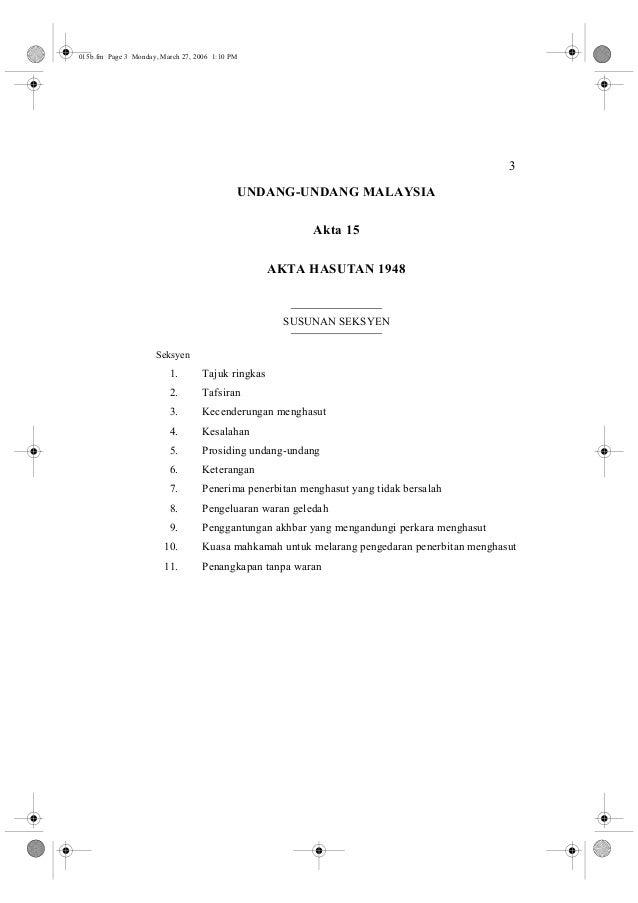 3  015b.fm Page 3 Monday, March 27, 2006 1:10 PM  UNDANG-UNDANG MALAYSIA  Akta 15  AKTA HASUTAN 1948  SUSUNAN SEKSYEN  Sek...