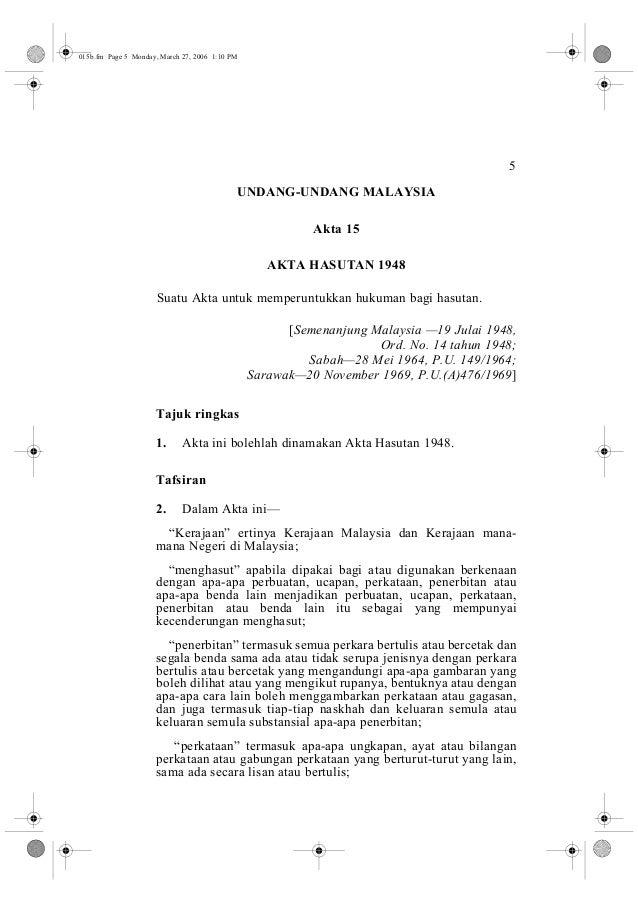5  015b.fm Page 5 Monday, March 27, 2006 1:10 PM  UNDANG-UNDANG MALAYSIA  Akta 15  AKTA HASUTAN 1948  Suatu Akta untuk mem...