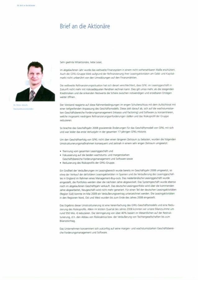 Aktionärsbrief von  Dr. Peter Jänsch 2008