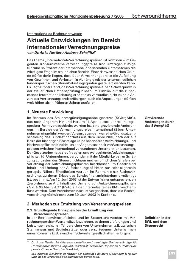 Betriebswirtschaftliche Mandantenbetreuung 7/2003 197 Internationales Rechnungswesen Aktuelle Entwicklungen im Bereich int...