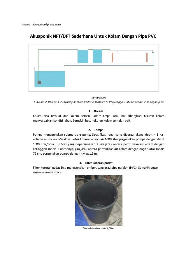 mamanabee.wordpress.com Akuaponik NFT/DFT 1. Kolam 2. Pompa 3. Penyaring Kotoran Padat 4. Biofilter Kolam bisa terbuat dar...