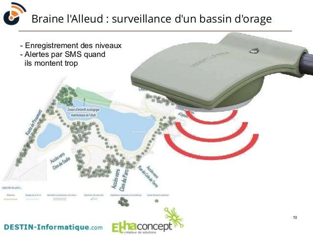 10  Braine l'Alleud : surveillance d'un bassin d'orage  - Enregistrement des niveaux  - Alertes par SMS quand  ils montent...