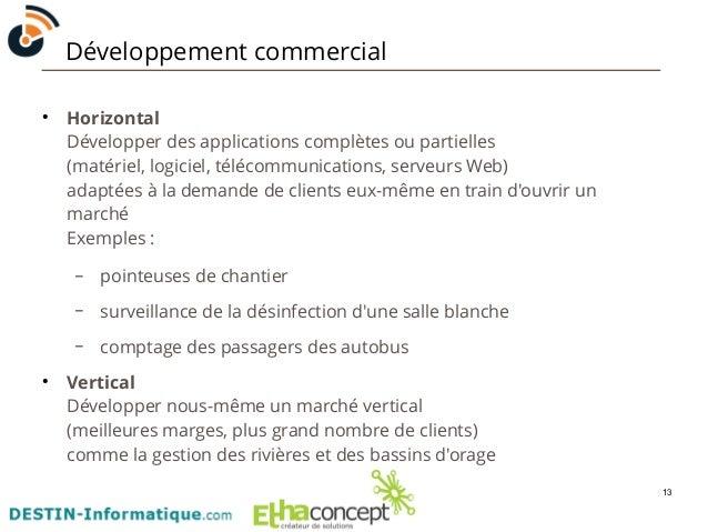 13  Développement commercial  ● Horizontal  Développer des applications complètes ou partielles  (matériel, logiciel, télé...