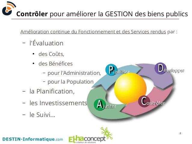 Contrôler pour améliorer la GESTION des biens publics  2  Amélioration continue du Fonctionnement et des Services rendus p...