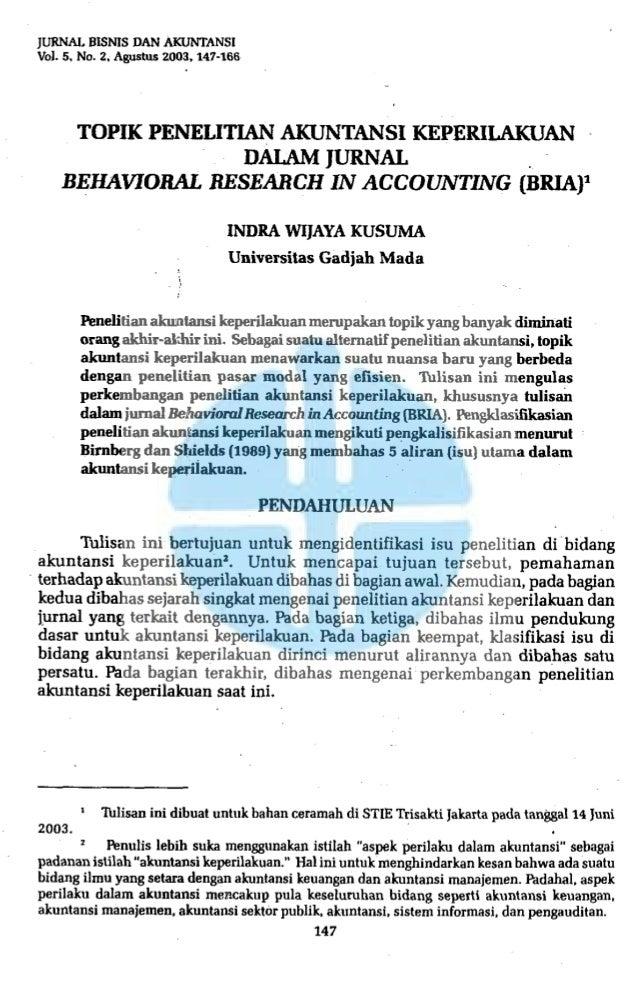 JURNAI. BlSNlS DAN AKUNTANSIVol. 5. No. 2. Agustus 2003. 147-166       TOPIK PENELITIAN AKUNTANSI KEPERILAKUAN            ...