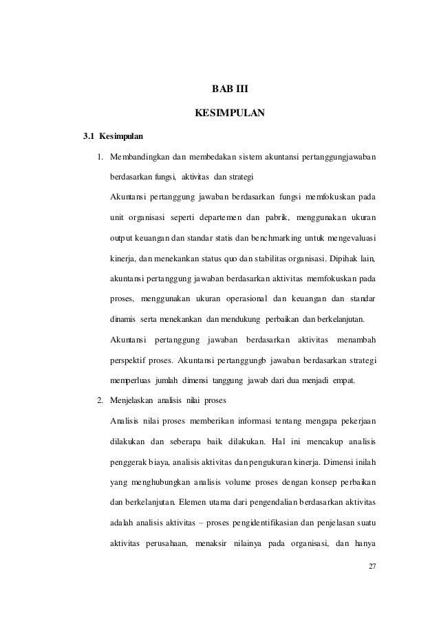 Akuntansi Pertanggungjawaban Berdasarkan Aktivitas Dan Strategi Anal