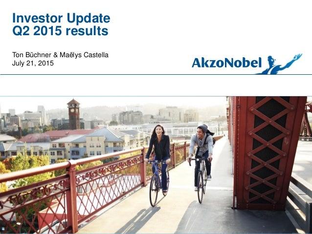 Investor Update Q2 2015 results Ton Büchner & Maëlys Castella July 21, 2015