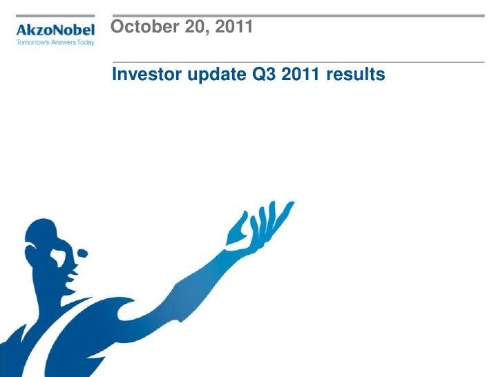 October 20, 2011Investor update Q3 2011 results
