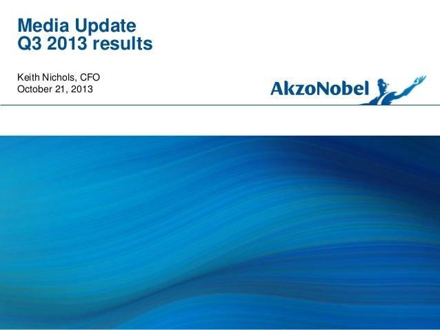 Media Update Q3 2013 results Keith Nichols, CFO October 21, 2013