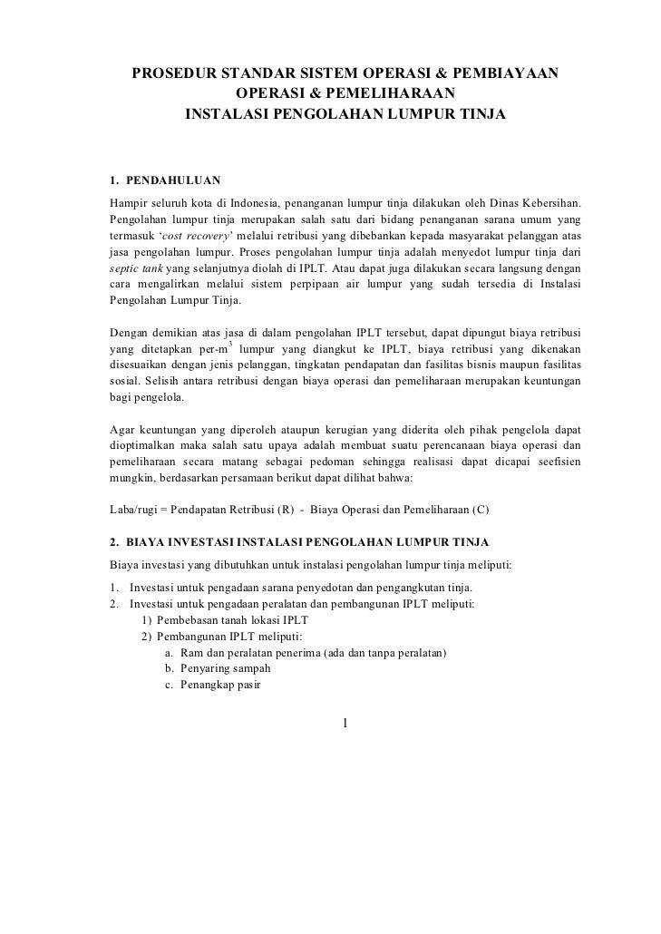 PROSEDUR STANDAR SISTEM OPERASI & PEMBIAYAAN               OPERASI & PEMELIHARAAN         INSTALASI PENGOLAHAN LUMPUR TINJ...