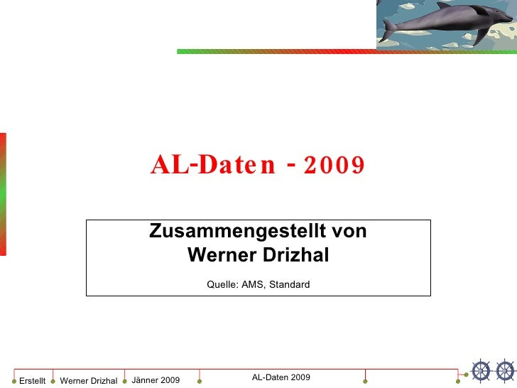 AL-Daten - 2009 Zusammengestellt von Werner Drizhal Quelle: AMS, Standard