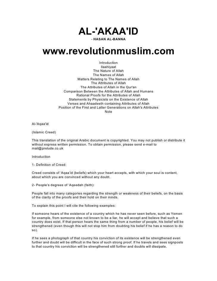 AL-'AKAA'ID                                         - HASAN AL-BANNA          www.revolutionmuslim.com                    ...