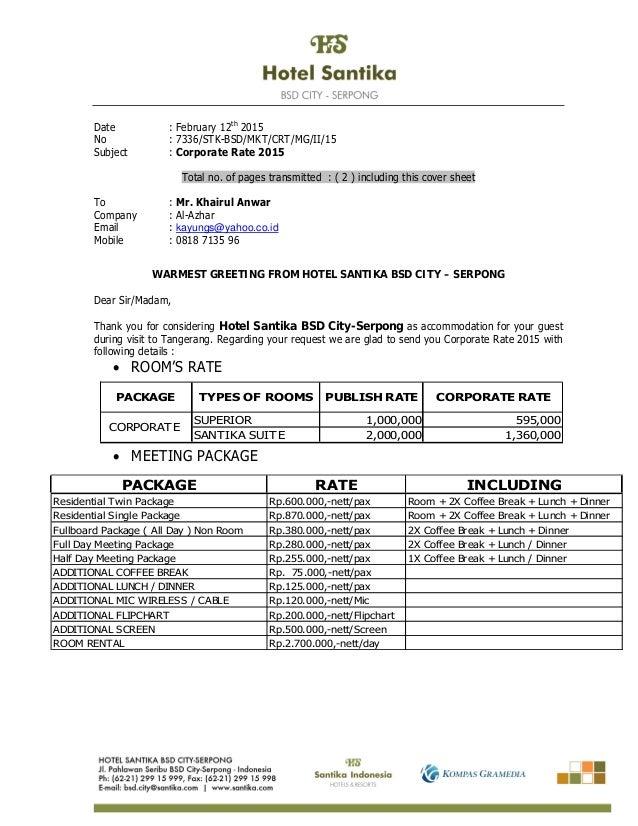 Price List Hotel Santika Bsd