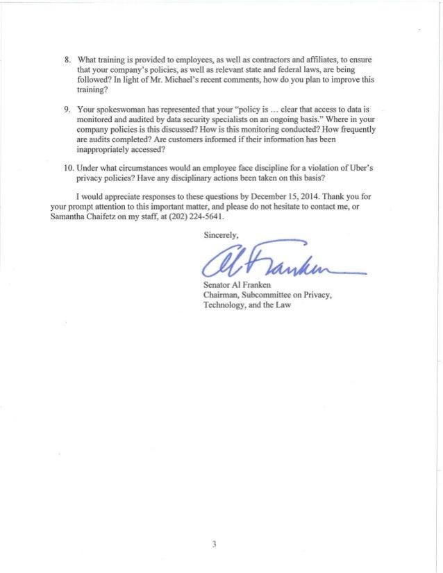 Senator Al Franken'S Letter To Uber Ceo Travis Kalanick