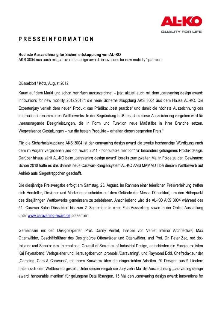 """PRESSEINFORMATIONHöchste Auszeichnung für Sicherheitskupplung von AL-KOAKS 3004 nun auch mit """"caravaning design award: inn..."""