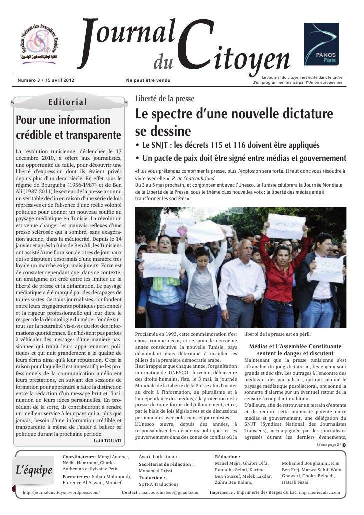 Le Journal du citoyen est édité dans le cadreNuméro 3      15 avril 2012                           Ne peut être vendu     ...