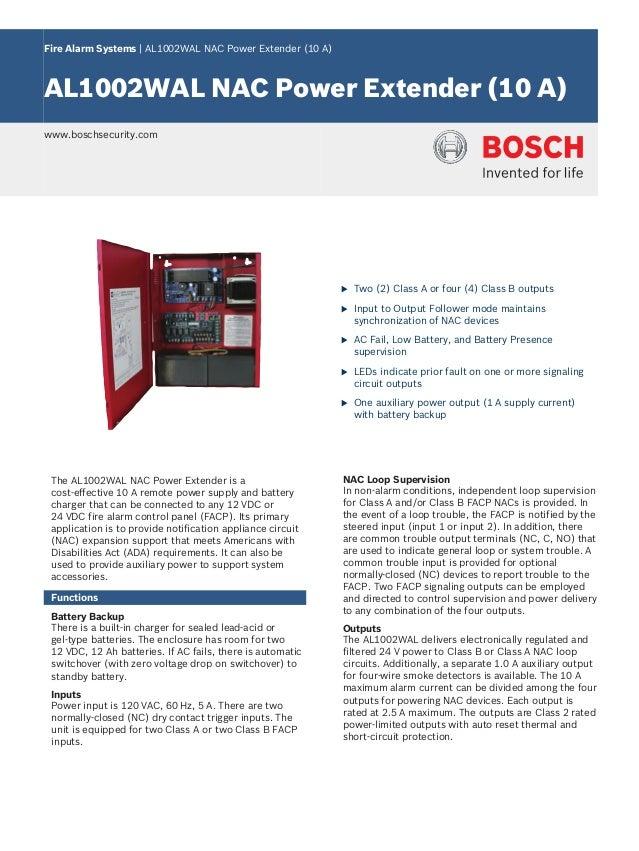Fire Alarm Systems | AL1002WAL NAC Power Extender (10 A) AL1002WAL NAC Power Extender (10 A) www.boschsecurity.com u Two (...