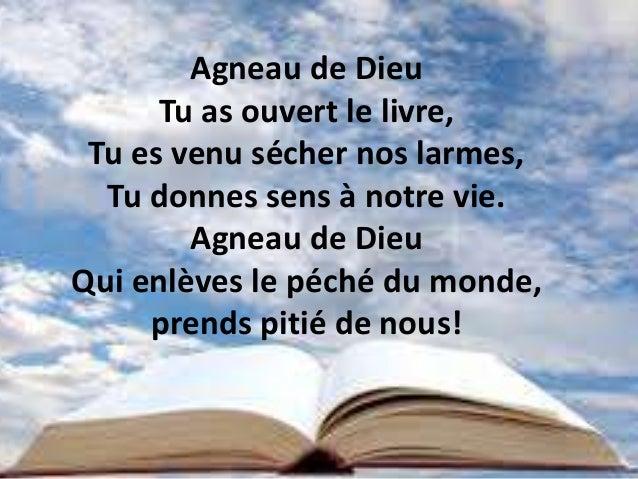 Agneau de Dieu Tu as ouvert le livre, Tu es venu sécher nos larmes, Tu donnes sens à notre vie. Agneau de Dieu Qui enlèves...