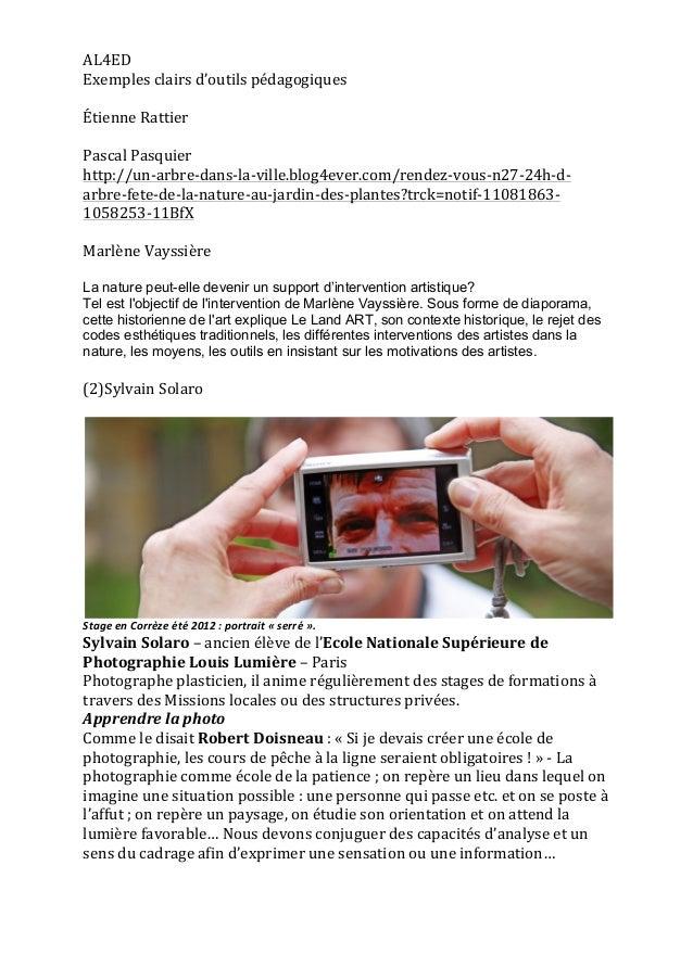 AL4ED   Exemples  clairs  d'outils  pédagogiques      Étienne  Rattier      Pascal  Pasquier   http:...