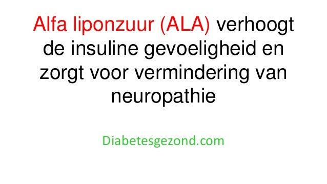 Alfa liponzuur (ALA) verhoogt de insuline gevoeligheid en zorgt voor vermindering van neuropathie Diabetesgezond.com