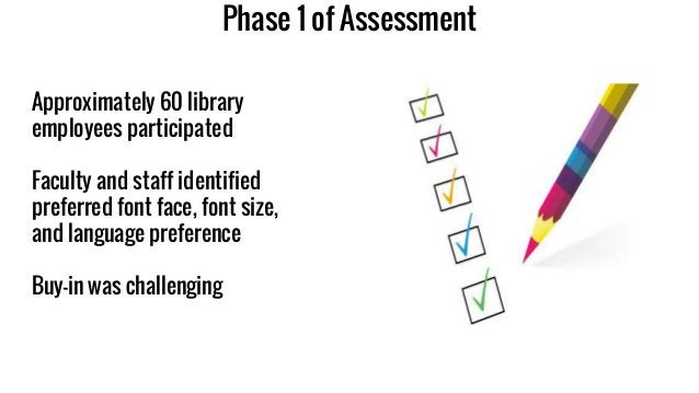 Phase 1 of Assessment Approximately 60 library employees participated Faculty and staff identified preferred font face, fo...