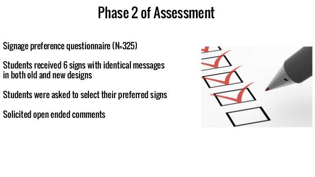 Phase 2 of Assessment Signage preference questionnaire (N=325) Students received 6 signs with identical messages in both o...