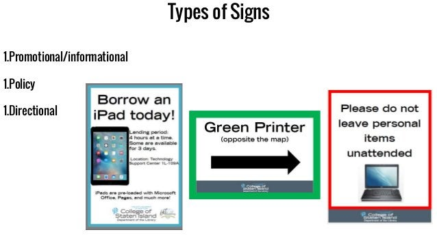 Types of Signs 1.Promotional/informational 1.Policy 1.Directional