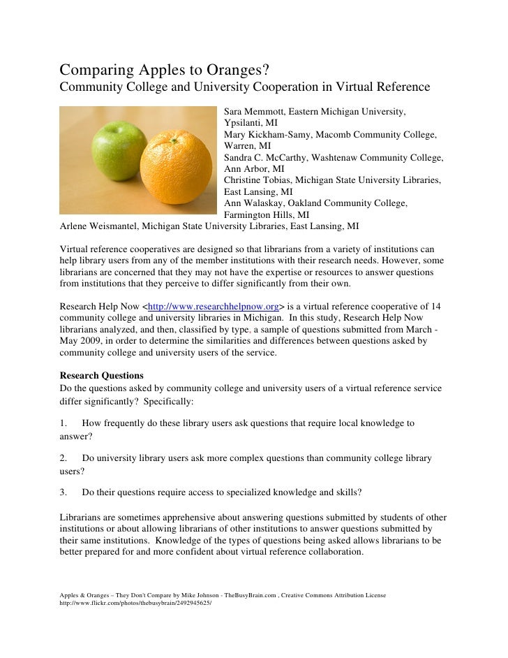 Comparing Apples to Oranges? Community College and University Cooperation in Virtual Reference                            ...